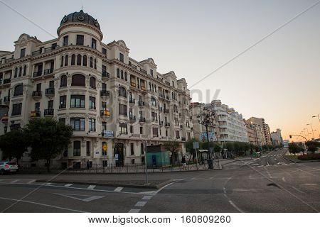 SANTANTER SPAIN - AUGUST 03: View of historical building at sunrise on August 03 2016