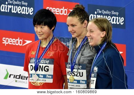 Hong Kong, China - Oct 29, 2016. DONG Jie (CHN), Katinka HOSSZU (HUN) and SCHMIDT Sierra (USA) at the Victory Ceremony of  the Women's Freestyle 800m. FINA Swimming World Cup.