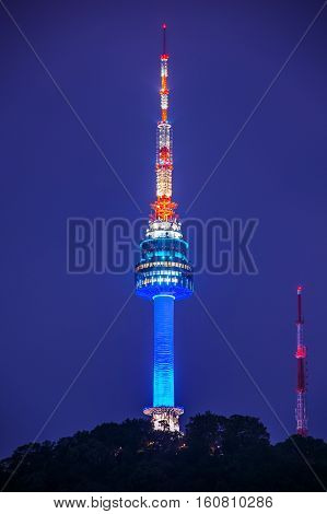 Seoul Tower At Night In Seoul, South Korea.