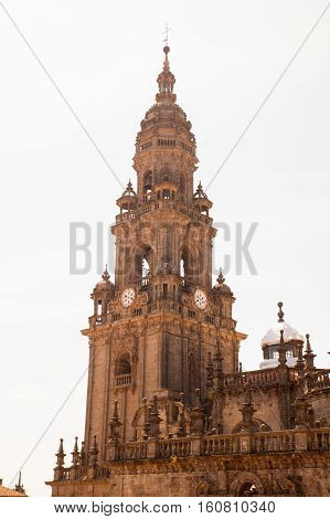 View of the belltower of the Santiago cathedral called North Tower or da Carraca. Spain