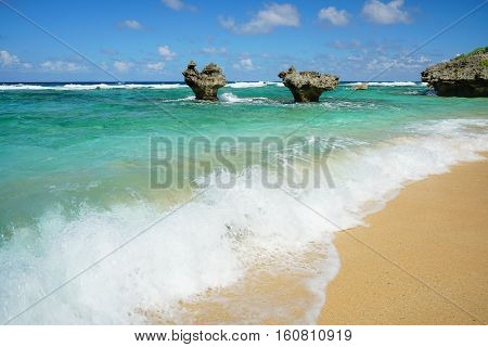 The Heart Rock Kouri Jima island. one of the landmark in Okinawa Japan.