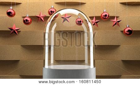 Glass dome on wave pattern background with hanging  balls and stars ornaments. For new year or Christmas theme. 3D rendering.