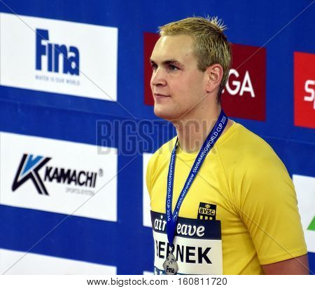 Hong Kong China - Oct 29 2016. Competitive swimmer Peter BERNEK (HUN) after the Victory Ceremony of the Men's Individual Medley 400m. FINA Swimming World Cup Victoria Park Swimming Pool.