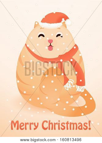 Christmas greeting card with cute happy cat. Vector illustration. Merry Christmas card.