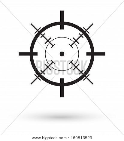 black crosshair icon vector on a white background