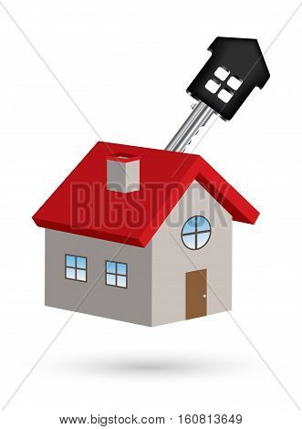3d house vector with house key on a white background