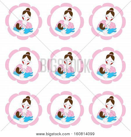 Mother's day illustration with cute mom and baby suitable for Mother's day cupcake topper, sticker set and clip art