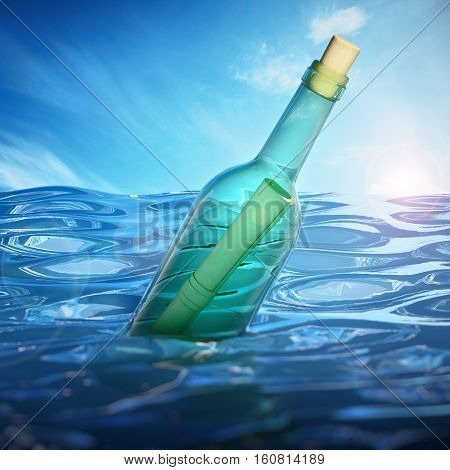 Message in a bottle floating on sea level. 3D illustration.