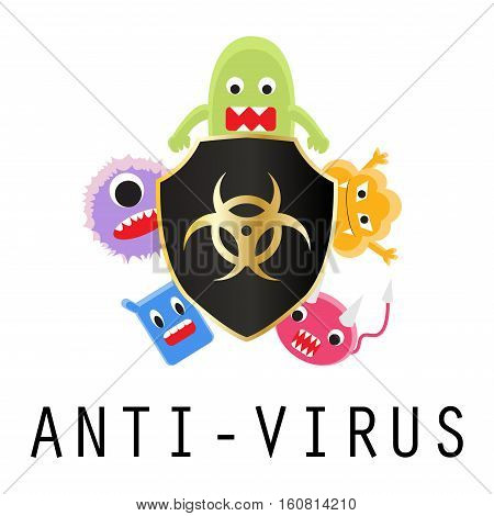 a anti virus shield with virus cartoon