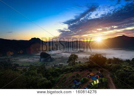 Phu Lanka The landscape of misty mountains and at sunrise Phayao northen Thailand