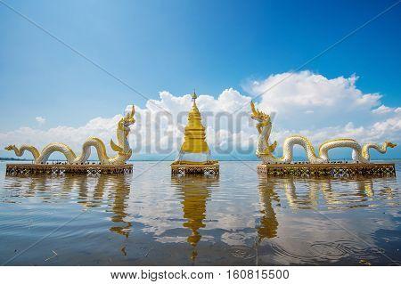 Kwan Phayao (Phayao lake) is popular natural attraction in Phayao. Landmark of Phayao in Thailand.