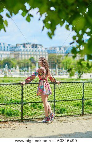 Beautiful Young Parisian Woman In Tuileries