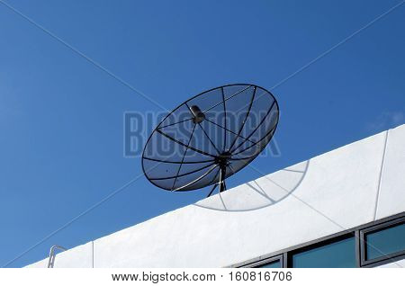 Rural satellite dish antennas, satellite dishes on buildings in the sky.