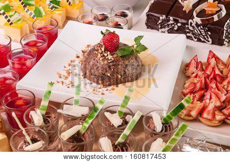 An array of Christmas desserts close up