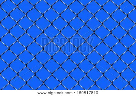 Wired fence on a blue sky background.
