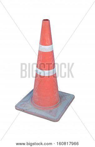 traffic cone art. Striped orange cones on the asphalt road. Plastic orange cone on the road. Traffic cone on a parking lot in the park. traffic cone,