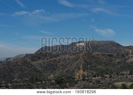 Los Angeles USA - September 27 2015: View of Hollywood sign in Los Angeles California. Sign is located in the Hollywood hills area of Mount Lee built in 1923.