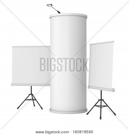Roll Up and Pop Up Banner Stands and Column. Trade show booth white and blank. 3d render isolated on white background