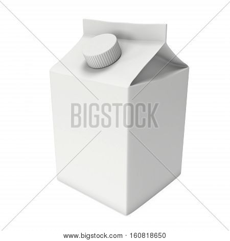 Milk or juice box with lid. Retail package mockup. 3d render illustration isolated on white.