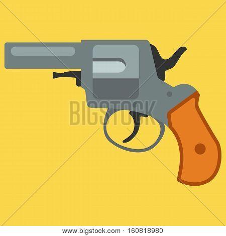 Pistol handgun security and military weapon. Metal revolver gun. Criminal and police firearm vector illustration.