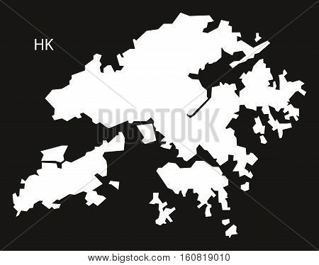 Hongkong Map black and white illustration country silhouette