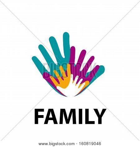 Vector sign family, four hands, isolated illustration