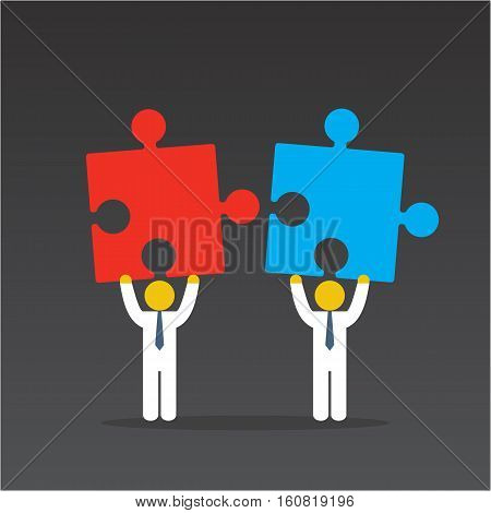 Merger concept. Two businessmen trying to connect red and blue puzzles. Vector illustration on black background.