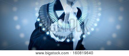 Tech Woman Pressing High Technology Control Panel Screen Concept