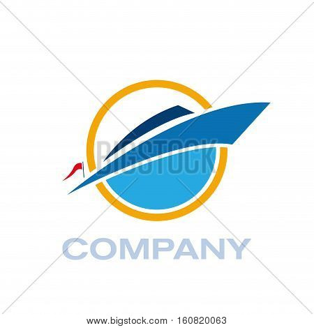 Vector sign yacht and boat, isolated illustration