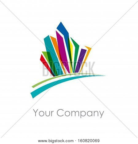 Vector sign abstract constructions and city, isolated illustration