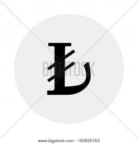 Currency of Turkey - Turkish lira symbol on a grey background