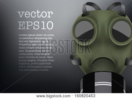 Background of military gas mask with one filter. Army equipment. Editable Vector illustration