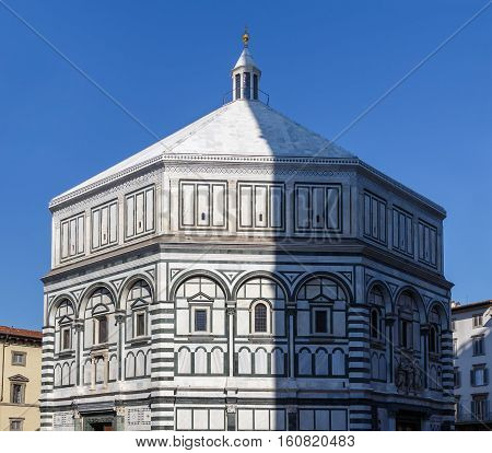 View Of The Baptistery In The Piazza Santa Maria Del Fiore In Florence