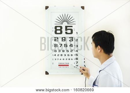 doctor check patient eye problem by snellen chart and white background
