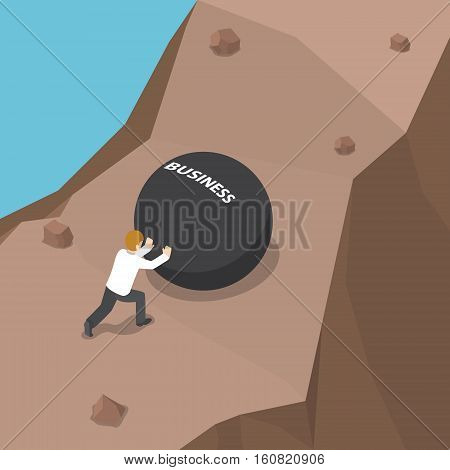 Businessman Pushing Heavy Ball With Business Word To Uphill