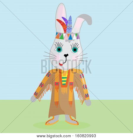 Cute Bunny on the way the North American Indians.Vector illustration can be used for designing toddler shirt or baby/ fashion print design/ graphic fashion/ t-shirts apparel/ children's