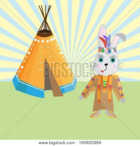 Cute Banny Indian headdress and traditional clothing of the indigenous people and the Lodge .Vector illustration in cartoon style for design-shirt toddler or children's historical map