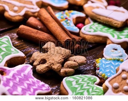 In center of composition of ginger root and canella in surroundings of Christmas cookies. Close-up.