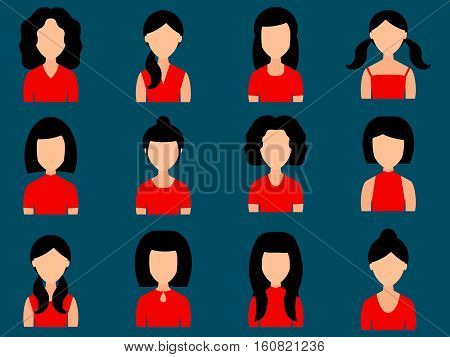 Avatars girls with different hairstyles in your everyday clothes. Icons set in flat style. Vector illustration.