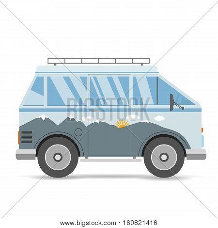 Vintage Blue Mountains Travel Bus Cartoon Van In Flat Design On White Background Vector Eps 10