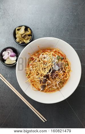 Khao soi Khao Soi Recipe Northern Style Curried Noodle Soup with coconut milk Northern Thai cuisine.