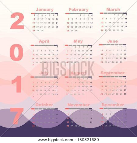 Romantic color 2017 calendar template stock vector