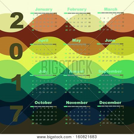 Colorful wave 2017 calendar template stock vector