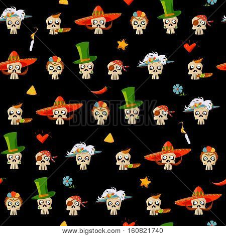 Dia de Muertos. Variety of Mexican style skulls. Seamless background pattern. Vector illustration