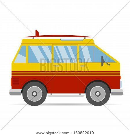 Vintage Red Yellow Travel Bus Surfing Cartoon Van In Flat Design With Surf Board On White Background