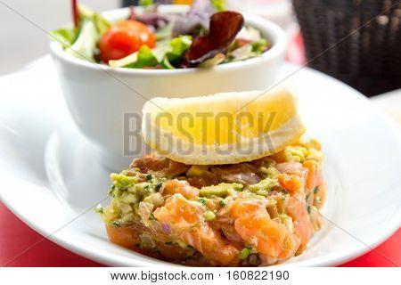 A seafood salad with smoked salmon