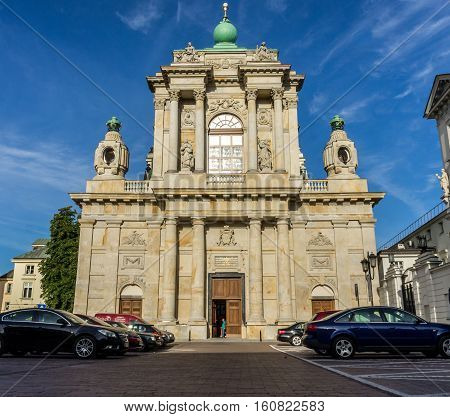 WARSAW, POLAND - SEPTEMBER 27: Church of the Assumption of the Virgin Mary and of St. Joseph or Carmelite Church, Krakowskie Przedmiescie in Warsaw, Poland on September 27, 2016