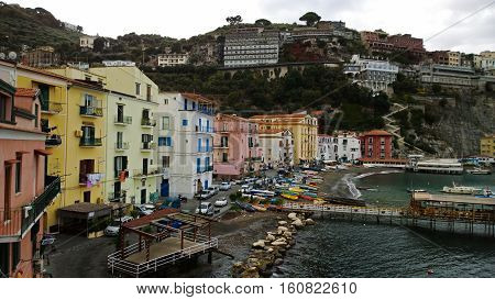View of the beach of Sorrento in Italy