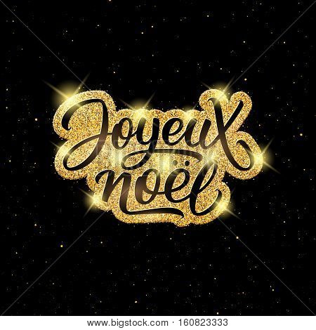 Joyeux Noel text on golden labek over black background with yellow glitters. Vector illustration for Christmas season greetings.