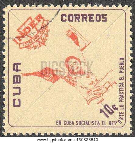 MOSCOW RUSSIA - CIRCA NOVEMBER 2016: a post stamp printed in CUBA shows a pistol the series